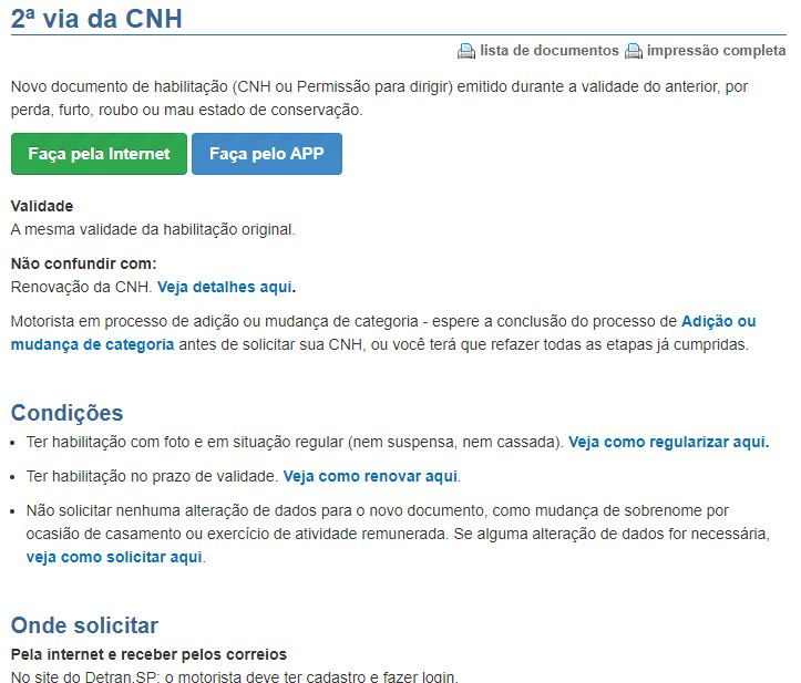 Agendamento 2º via CNH